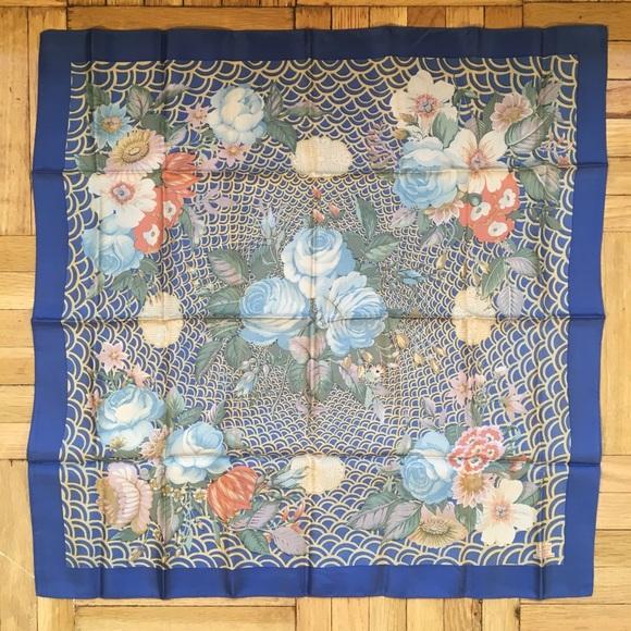 b37f8569b2e86 Vintage Liberty London Navy Floral Silk Scarf